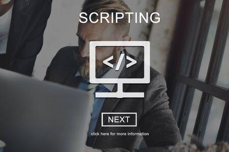 scripting: Scripting Coding Data Development Internet Concept