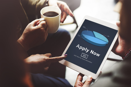 Apply Now Recruitment Hiring Job Employment Concept Stock fotó
