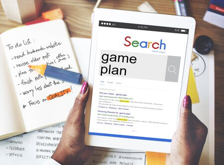 game plan: Mission Game Plan Tactics Planning Objective Concept Stock Photo
