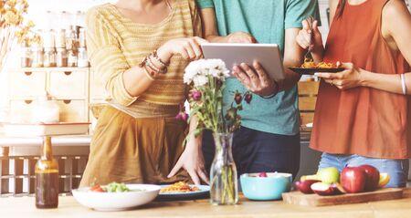 team communication: Friendship Togetherness Food Digital Tablet Technology Concept