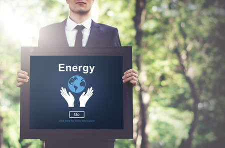 environmental awareness: Energy Conservation Earth Planet Concept Stock Photo