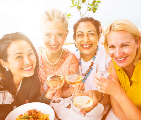 luncheon: Diverse People Luncheon Outdoors Hanging out Concept