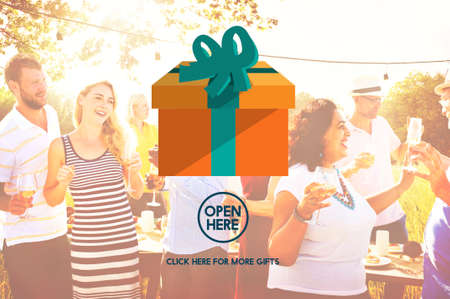 outdoor dining: Present Gift Giftbox Holiday Icon Concept Stock Photo