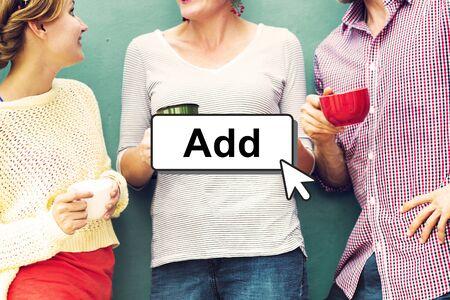 add: Click Add Button Interface Concept