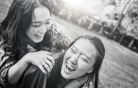 affectionate: Sister Friendship Affectionate Adorable Outside Concept Stock Photo