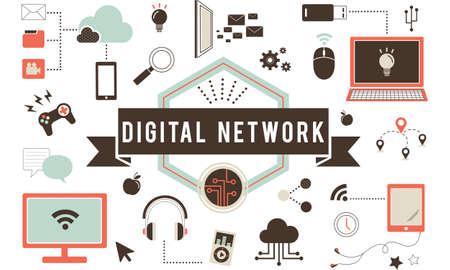 lan: Digital Network Computer Connection Server LAN Concept