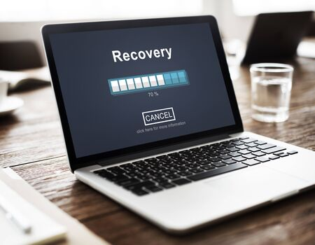 data recovery: Recovery Backup Restoration Data Storage Security Concept Stock Photo