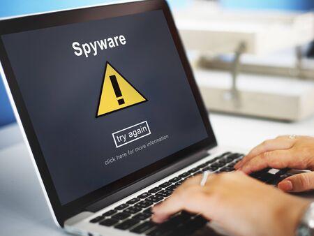 spyware: Spyware Computer Hacker Spam Phishing Malware Concept Stock Photo
