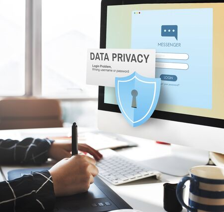 legal pad: Data Privacy protection Policy Technology Legal Concept Stock Photo