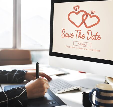 computer screens: Save The Date Wedding Day Love Concept Stock Photo