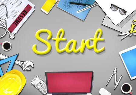 empezar: Start lanzamiento Motiva activaci�n Begin Concept Foto de archivo