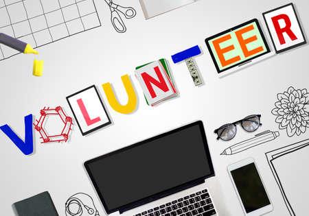 voluntary: Volunteer Voluntary Support Assist Aid Help Concept