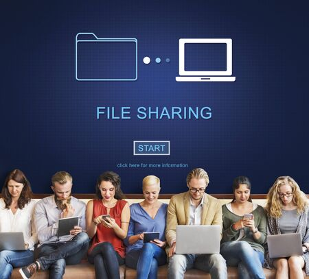 file sharing: File Sharing Data Information Social Networking Concept