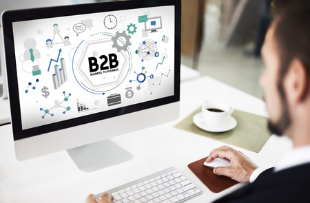 b2b: B2B Business to Business Corporate Connection Partnership Concept