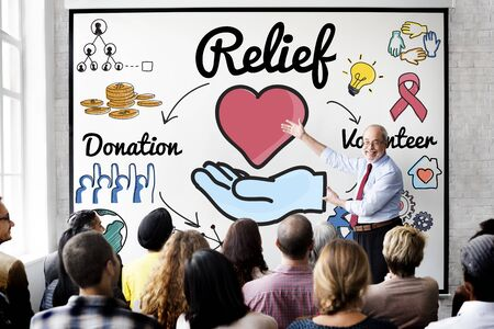 relieved: Relief Relaxation Charity Assistance Support Giving Concept