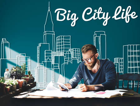 city life: Big City Life Downtown District Metropolis Location Concept Stock Photo