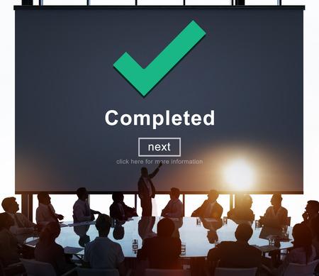 accomplishment: Completed Accomplishment Achievement Finished Success Concept