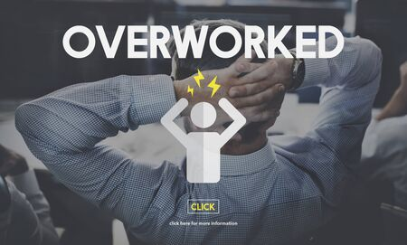 overworked: Overworked Business Overload Overtime Pressure Concept Stock Photo