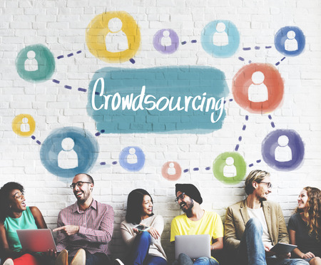 crowd sourcing: Crowdsourcing Collaboration Information Content Concept Stock Photo