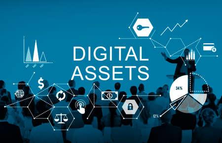 management system: Digital Assets Business Management System Concept Stock Photo