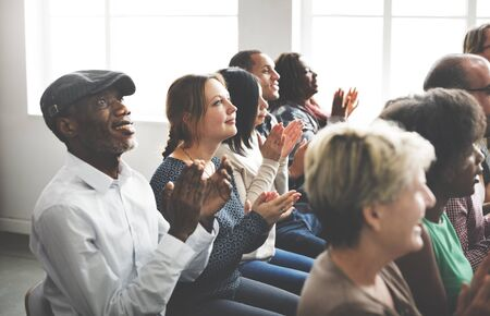 clapping: Audience Applaud Clapping Happiness Appreciation Seminar Concept Stock Photo