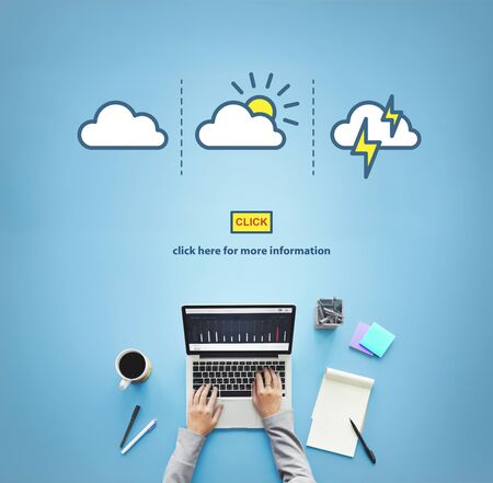 weather report: Weather Report Forecast Cloudy Clear Blustery Concept Stock Photo