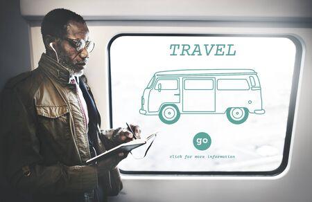destination: Travel Traveling Adventure Journey Destination Van Concept Stock Photo