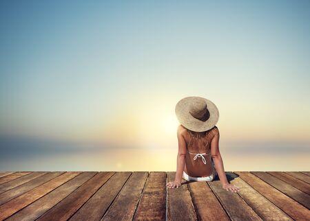 wharf: Woman Sunbathe Sunny Summer Beach Relaxing Concept