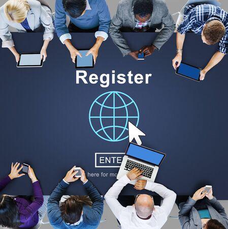 registry: Register Member Homepage Browsing Digital Concept Stock Photo