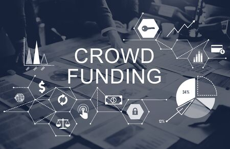 small business team: Crowd Funding Supporters Investment Fundraising Contribution Concept