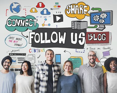 role model: Follow us Social Media Connection Followers Concept
