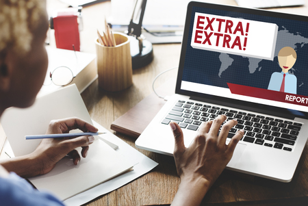 extra: Extra Important Announcement Advertisement Concept Stock Photo