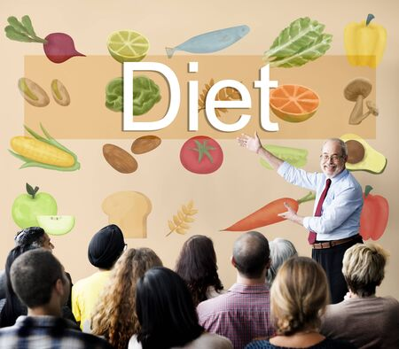 loss leader: Diet Choice Eatting Healthy Nutrition Obesity Concept Stock Photo