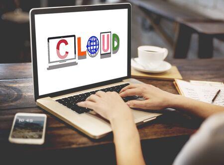advanced computing: Cloud Computing Database Server Network Concept Stock Photo