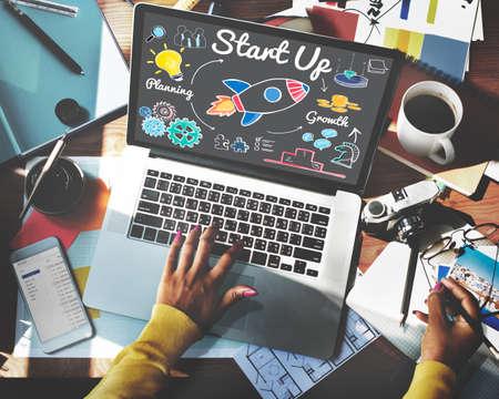 start up: Start up Planning Growth Development Launch Concept Stock Photo