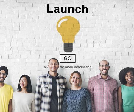 introduce: Launch Start Brand Introduce Light Bulb Concept Stock Photo