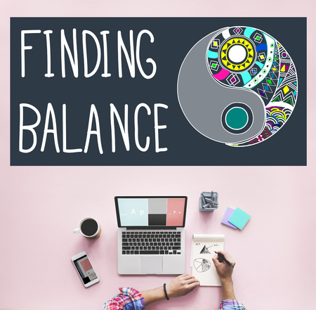 business life: Finding Balance Yin-yang Wellbeing Concept