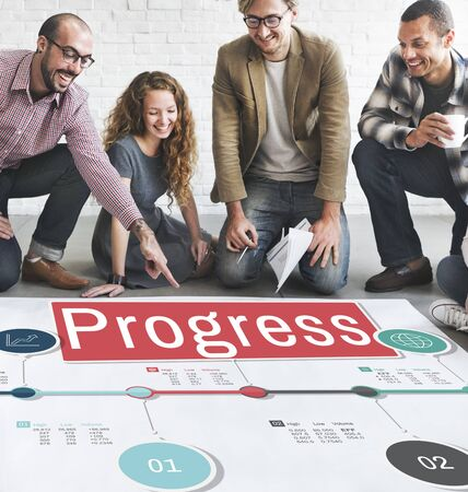 asian business team: Progress Improvement Investment Mission Develoment Concept