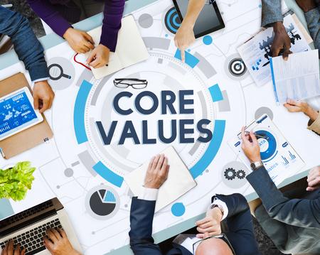 Reunión de negocios con el concepto de valores fundamentales