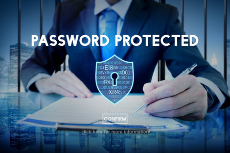 password: Password Protected Network Security Protection Concept