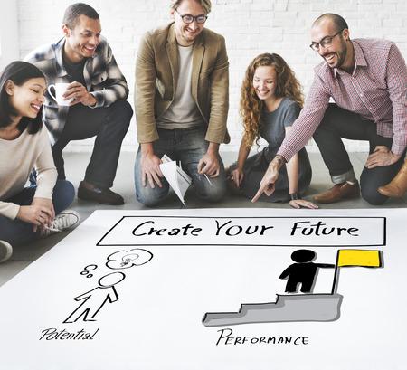 man business oriented: Create Your Future Aspiration Goals Concept