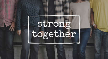 inspire: Strong Together Friends Inspire Motivate Concept Stock Photo