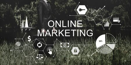 attache case: Online Marketing Advertising Branding Strategy Concept