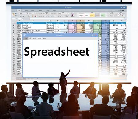 hoja de calculo: Spreadsheet Documents Data Analysis Worksheet Concept Foto de archivo