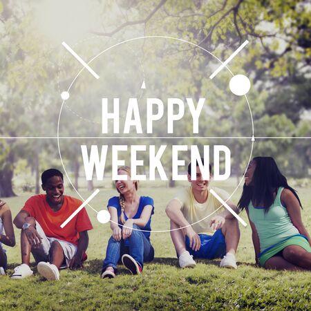 enjoyment: Happy Weekend Enjoyment Free Time Greeting Concept Stock Photo