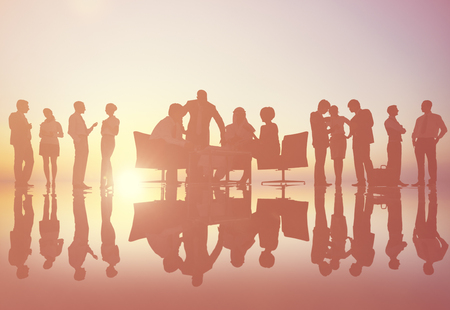 lit: Back lit Business People Working Corporate Concept Stock Photo