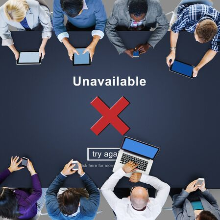 unable: Unavailable Disconnected Inaccessible Unable to Connect Concept