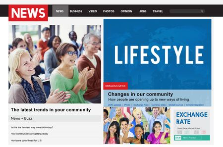 journalism: News Article Advertise Journalism Feeds Concept Stock Photo