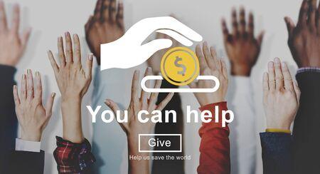 tu puedes: Usted puede ayudar a dar dinero donar el concepto de