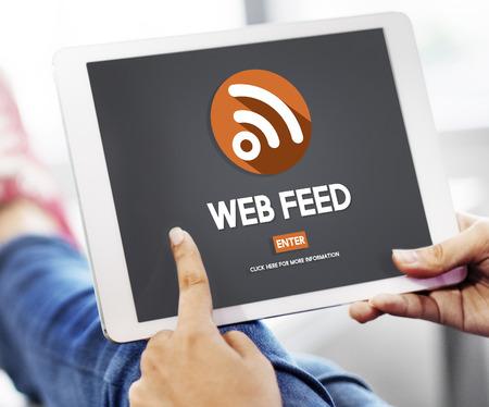 web feed: Web Feed Hashtag Internet Content Digital Media Concept